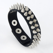 Gothic Delicate Cuspidal Spikes Rivet Cone Stud Cuff Black Leather bracelets & bangles Punk Bracelet for women men jewelry Z-391