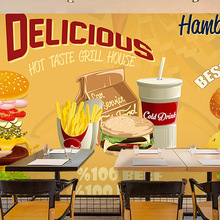 Free Shipping custom 3D stereo wallpaper mural fast food restaurant milk tea shop dessert store wallpaper
