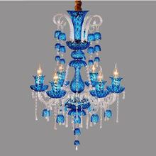 Led Art Deco Colored Cafe Lights & Lighting Chandelier For Dining Room Pendant Red Blue Bell lampe Crystal Chandelier E14 Lustre(China)