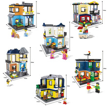 Hsanhe City Series Building Blocks street Store Architecture Pet shop Couture Billiard hall Opera Kids educational toy Gift