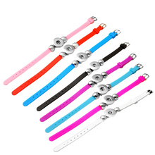 P00621 8color cheaper rubber rivca snap buton real leather bracelet fit 18mm button snap button armband(China)