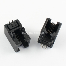 10 Pcs Per Lot Plastic RJ9 4P4C Right Angle PCB Jack Telephone Handset Modular Connector