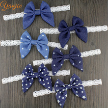 6pcs/lot 2017 Boutique Headband 3'' Girls And Kids Denim Bow With White Lace Elastic Headband Hair Bow Hair Accessories
