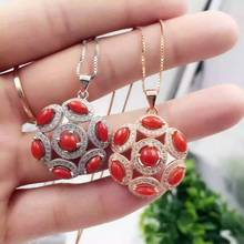 natural red coral pendant S925 silver Natural gemstone Pendant Necklace Retro luxury Hydrangea ball women party girl jewelry(China)