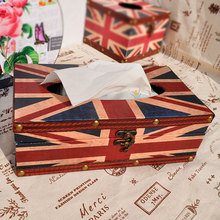 Home Table Decororation Tissue Boxes Decorative Vintage Patriotic American Flag Design Hinged Refillable Tissue Box Holder Cover