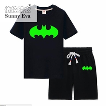 Sunny eva kids clothing sets noctilucence boys Children's sets for girls Luminous t-shirt with short boys night shining sports