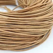 2mm/3mm Diameter 10m/piece DIY Jewelry Fitting natural color round genuine leather cord