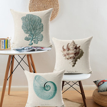 Retro Marine Biology Cushion Cover Sea Conch Shell Starfish Hippocampus House Pillow Case Linen Cotton Pillows Covers