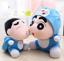 Gift for baby 1pc 35cm cartoon funny Crayon Shin chan become Doraemon hat plush hold doll novelty girl stuffed toy