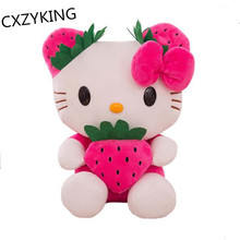 CXZYKING 25/32CM Strawberry Hello Kitty Plush Toys Stuffed Soft Cartoon KT Doll Plush Doll Birthday Gift for Kids Girls Toy