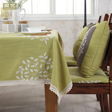 Cotton table cover green dining natural garden tablecloth fabric tree pastoral Embroidery Multisize linen vintage BEAUTY