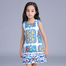 2017 New England Style Fashion Printed Flower Castle Dress Autumn Girls Sleeveless Dressess Children's Party Clothes 16O101