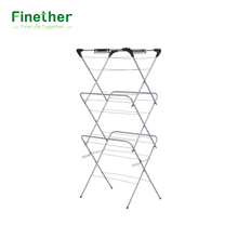 Finether 3-Tier Folding Concertina Clothes Airer Storage Rack Household Essentials Clothes Drying Rack with Durable Iron Grey