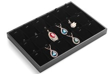 Black 18 Cells Pendant Display Tray Velvet Necklace Showing Box Jewelry Holder Pendant Organizer Storage Boxes Jewelry Showcase(China)