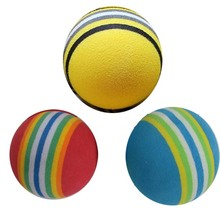 10EA Indoor golf practice ball multi colour sponge ball eva soft ball rainbow ball(China)