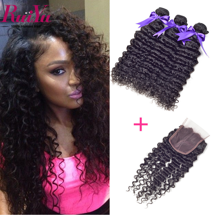 altMalaysian Curly Hair With Closure 3 Bundles Malaysian Deep Wave Curly Malaysian Virgin Hair With Closure Curly Weave Human Hair