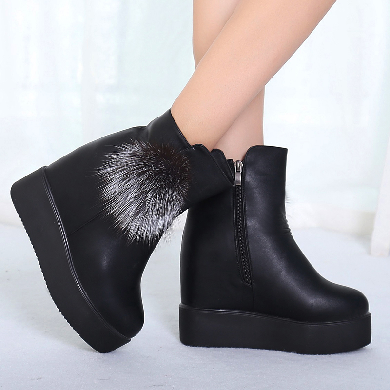 2017New short leather wholesale winter warm slope with increasing snow boots women short boots womens shoes chaussure femme<br><br>Aliexpress