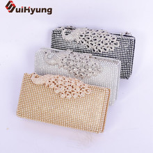 Suihyung Women's Handbags Luxury Full Diamond Clutch Bags Wedding Party Ladies Evening Bags Rhinestones Peacock Day Clutch Purse