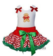 Christmas Sale Gingerbread Man White Pettitop with Red Green Polka Dots / Red Green Chevron  Pettiskirt1-7Y