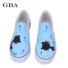 Gba Women Tide Vulcanized Casual Board Shoes Retail Fashion Loafers 2017 Spring Autumn Hand Painted Canvas Shoes Zapatos Mujer