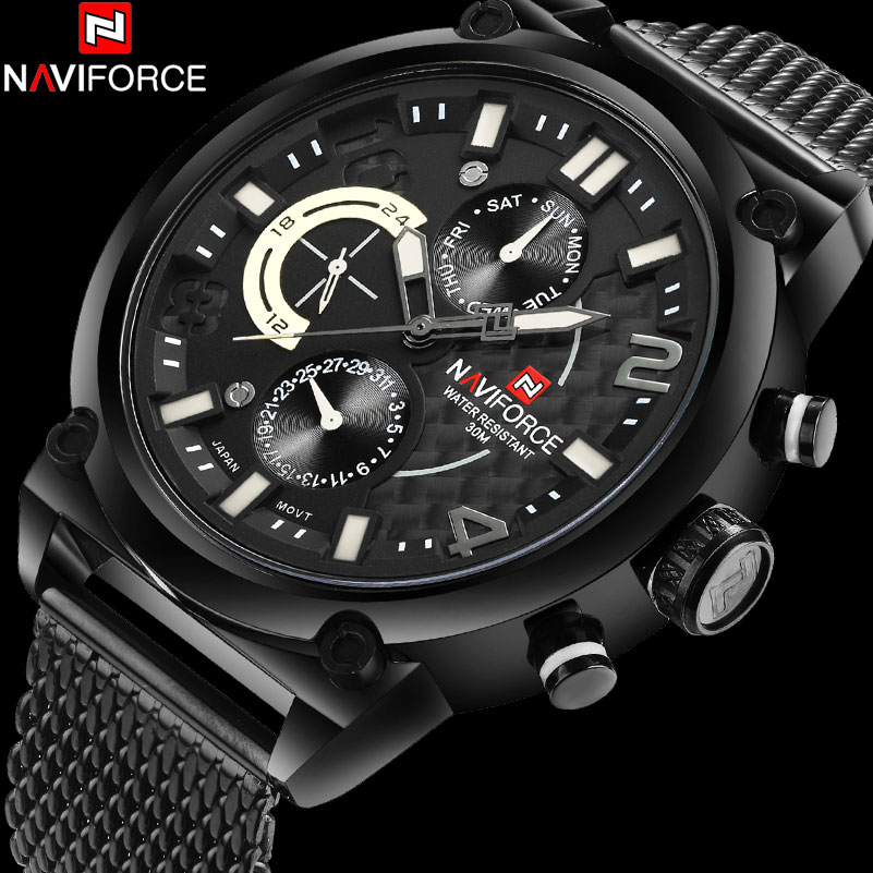 NAVIFORCE Fashion Casual 24 Hour Quartz Watch Men Sport Watches Stainless Steel Mesh Band 30M Waterproof Male Calendar Clock<br>