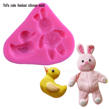 DIY animal Small yellow duck and rabbit Fondant chocolate silicone mold for cake decorating tools handmade soap mold F0937