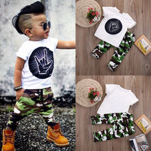 Stylish Infant Toddler Baby Kids Boys Outfits Babies Boy  Rock Gesture Tops T-shirt +Camouflage Pants Outfit Set Clothes