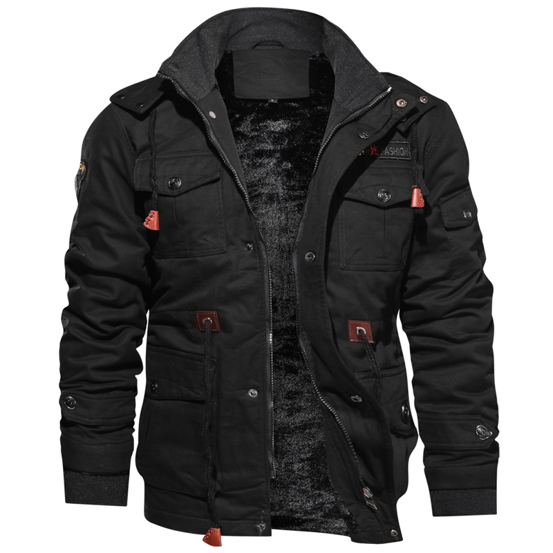 Hooded Windbreaker Coats Mens Outwear Military-Bomber Fleece Warm Breathable Thick title=