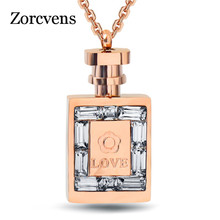 ZORCVENS Fashion 316L Stainless Steel Jewelry luxury women Rose Gold Color Perfume Bottle necklace chain Lady Crystal Jewelry(China)