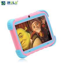 "Hot iRULU Y5 7"" Babypad 1024*600 IPS Quad Core Android 7.1 Tablet PC GMS 1G 16G Silicone Case Gift For Children Pink/Green"