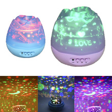 Thrisdar Rose Moon Sky Rotation Night Light USB Rechargeable Starry Star Sky Projector Lamp For Children Baby Sleep Lamps