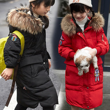 Down Jackets For Girls Boy Winter Coat 4T Long Clothes For Children Cartoon Robot Warm Fur Coats(China)
