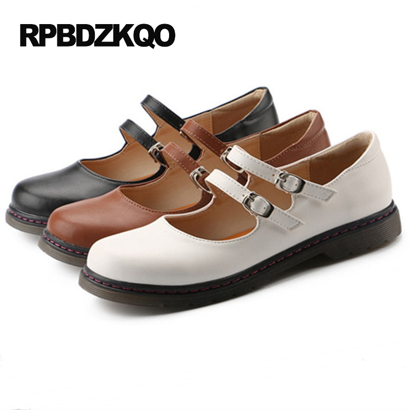 Japanese School Lolita Plus Size White Round Toe Women 41 Large Kawaii 2017 Retro Ladies Mary Jane Wide Fit Shoes Brown Flats<br>