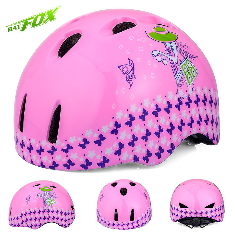 BATFOX Cycling Helmets Ultralight Children Cartoon butterfly girl Bicycle Helmet Integrally-molded Road Mountain MTB Bike Helmet(China)