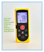 70M Laser Distance Meter Rangefinder M / In / Ft three units with Level Bubble and Data Record(China)