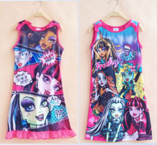 Retail One Piece Monster girl girls summer short sleeve Nightie dress pajamas nightgown kids childrens high school sleepwear