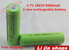 100 ICR 8800MAH 3.7V 18650 Li-ion battery cell rechargeable Lithium ion batteries laser flashlight - Li jia shops store