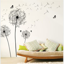 Creative PVC Wall Stickers Black Dandelion Decals for Living Room Bedroom TV Wallpaper Large Removable DIY Art Home Decoration(China)