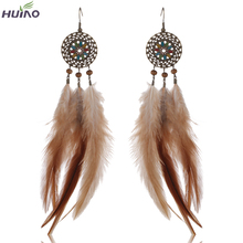 Brand Design HUIYAO New Arrival Very Long Feather Drop Earrings on Ebay Hot
