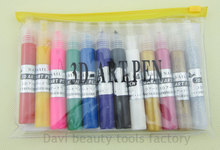 12 color Professional 3d multi-surface nail art paint/UV Gel Acrylic Design 3d nail art paint tube draw painting