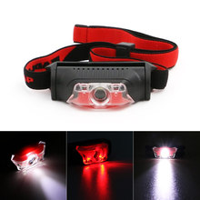 Super Bright 1*XPE+2LED Mini Headlamp Headlight Torch Lamp 4 Models Head Lamp Fishing Camping Light AA Red/White Light
