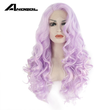 Anogol High Temperature Fiber Side Part Natural Hairline Long Body Wave Purple Synthetic Lace Front Wig For White Women(China)