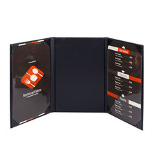 30pcs/lot PU Leather Restaurant Menu Covers Wine List Holders A4 Coffee Menu List Folder 3 Views Accept Customized