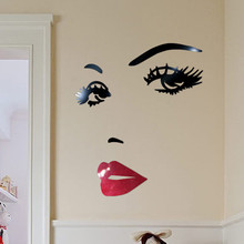 3D Sexy Face Lip Eye Acrylic Wall Sticker Beauty Modern Stickers Bedroom Living Room Home Decoration Accessories adesivo parete