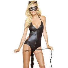 Latest Design Patent Leather V Neck Zipper Front Ears Mask Bodysuit Woman Catsuit Costume Sexy Catwoman Halloween Costume L15114