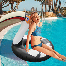 140CM Inflatable Flamingo Swim Ring Toco Circle Pool Inflatable Toys Beach Bed Toy Adult Kids Swimming Ring Kickboard Pool Toys