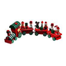 4 Piece little train Wood Christmas Xmas Train Ornament Home Decor Gift(China)
