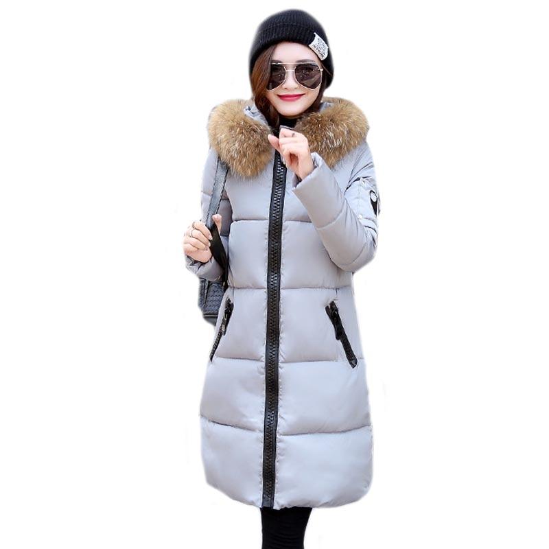 new 2017 women winter coat wadded jacket medium-long plus size Parka fur collar thickening hood abrigos female snow wearОдежда и ак�е��уары<br><br><br>Aliexpress