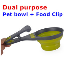 Collapsible Silicone Pet Bowl Dual Purpose Pet Water Food Bowl and  Food Snack Bag Package Clip Cup Outdoor Travel Pet Feeding