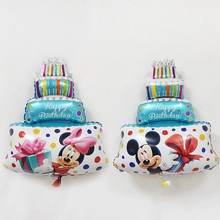 XXPWJ Free Shipping New 1pcs Mini Minnie Mickey. Cake Aluminum Balloon Children Toys Party Birthday Decorative Balloon Wholesale